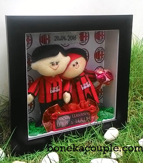 kado wedding boneka couple jersey ac milan
